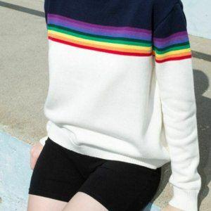 Brandy Melville Rainbow Knit Stripe blue sweater